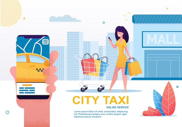 City taxi, car sharing and rent service on mobile.