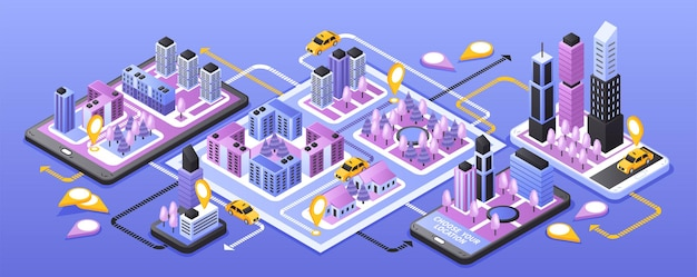 City taxi online service narrow isometric banner with smartphone navigation app on purple surface
