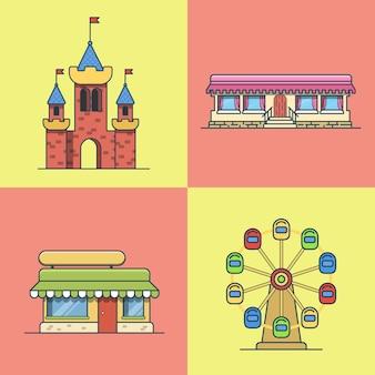 도시 마을 건축 성 관람차 빵집 패스트 푸드 레스토랑 카페 건물 세트. 선형 스트로크 개요 평면 스타일 아이콘. 여러 가지 빛깔의 라인 아트 아이콘 모음.