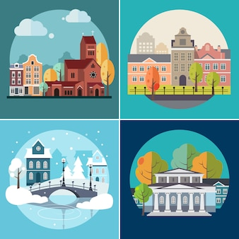 City and town buildings, landscapes