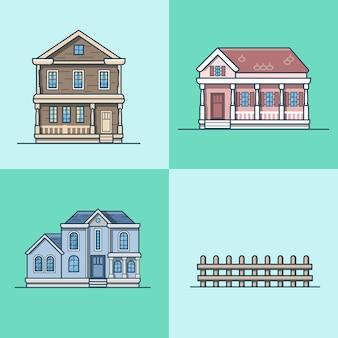 도시 타운 하우스 건축 개체 건물 집합입니다. 선형 스트로크 개요 평면 스타일 아이콘. 여러 가지 빛깔의 아이콘 모음.