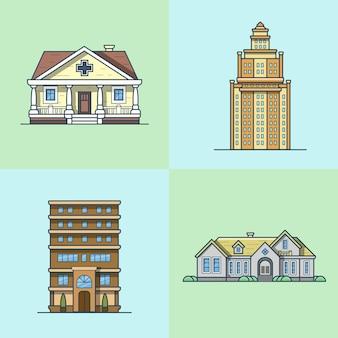 도시 타운 하우스 건축 공공 건물 세트. 선형 스트로크 개요 평면 스타일 아이콘. 여러 가지 빛깔의 아이콘 모음.
