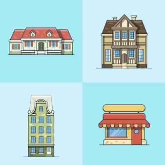 도시 타운 하우스 카페 레스토랑 건축 건물 세트. 선형 스트로크 개요 평면 스타일 아이콘. 여러 가지 빛깔의 라인 아트 아이콘 모음.