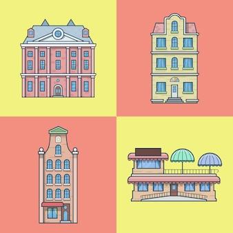 シティタウンハウスホテルカフェレストランテラス建築ビルセット。線形ストロークのアウトラインアイコン。