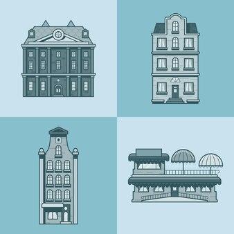 도시 타운 하우스 호텔 카페 레스토랑 테라스 건축 건물 세트