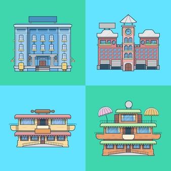 シティタウンハウスホテルカフェレストランテラスベーカリー建築建物セット。