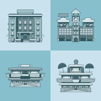 도시 타운 하우스 호텔 카페 레스토랑 테라스 빵집 건축 건물 세트