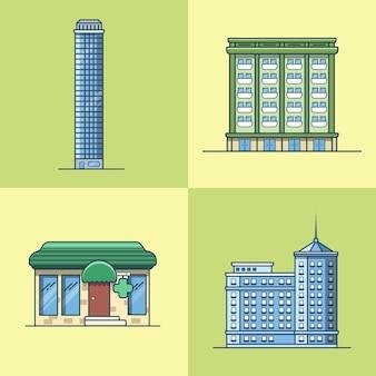 도시 마을 마천루 호텔 집 약국 약국 건축 건물 세트. 선형 스트로크 개요 평면 스타일 아이콘. 멀티 컬러 아이콘 모음.