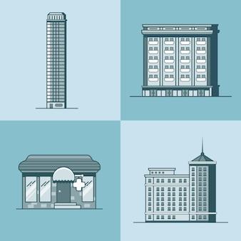 도시 마을 마천루 호텔 집 약국 약국 건축 건물 세트