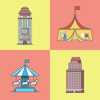 City town skyscraper house attractions park circus carousel architecture building set. linear stroke outline flat style  icons. multi color icon collection.