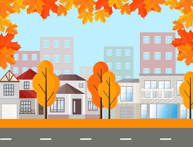 City town street view, buildings in autumn season. vector mapple leaves background