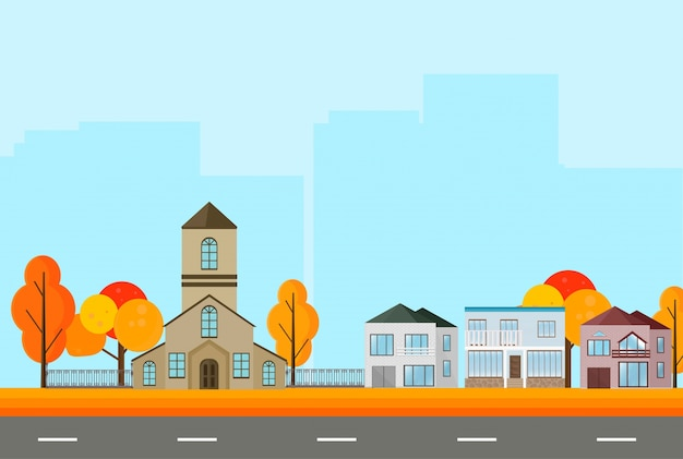 City town street view, buildings in autumn season. vector mapple leaves backgrounds