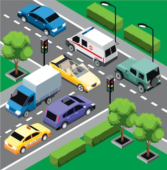 City traffic isometric concept