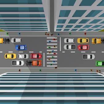 Vista dall'alto del traffico cittadino