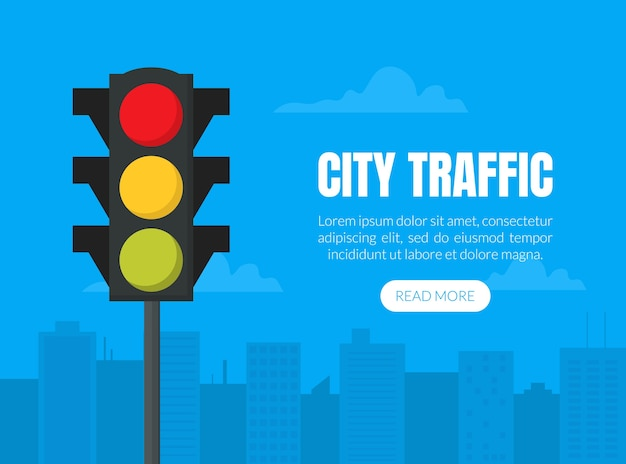 City traffic website banner with traffic light, cityscape and clouds.