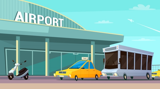 City transport cartoon composition with airport terminal