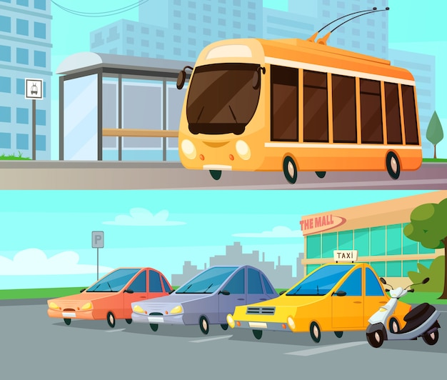 City transport cartoon compositions with trolley at street stop and mall parking with taxi cars