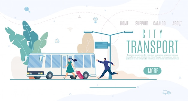 City transport company, service website template or landing page