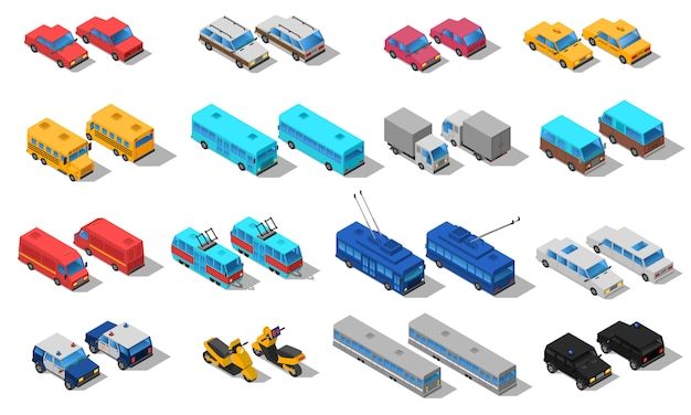 City transport isometric icons set