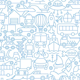 City transport line seamless pattern. vector illustration of outline background.
