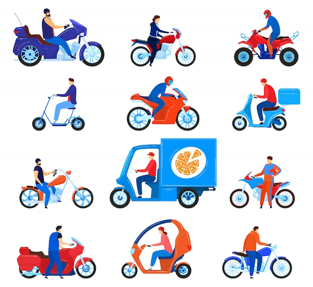 City transport motorbikes vector illustration set.