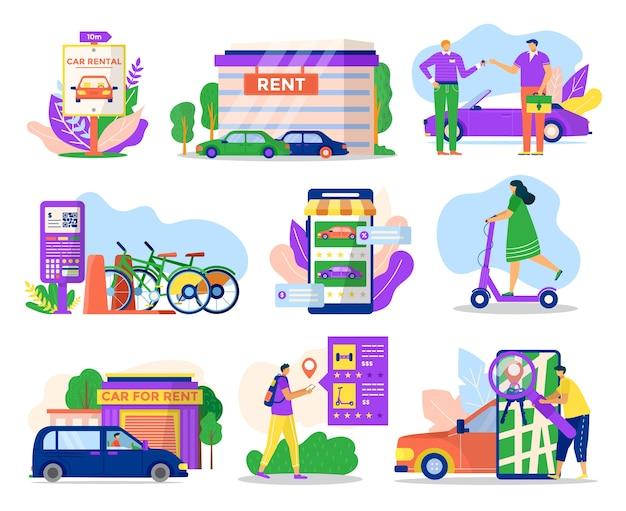 イラストの都市輸送レンタルサービスアイコンセット。車両運搬車、自転車、ジャイロスクーター、スクーターをレンタルします。 web、モバイルアプリ、プロモーションのピクトグラム。都市のレンタルコンセプト。