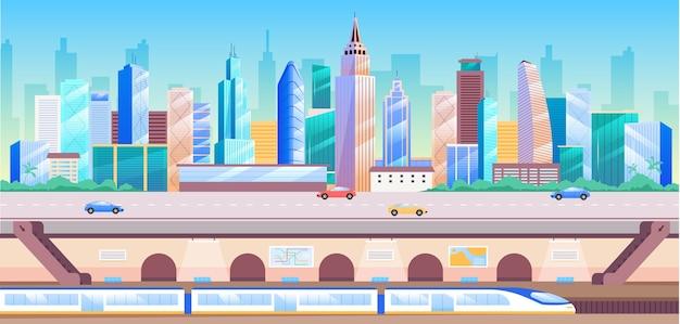 都市交通機関のフラットカラーイラスト