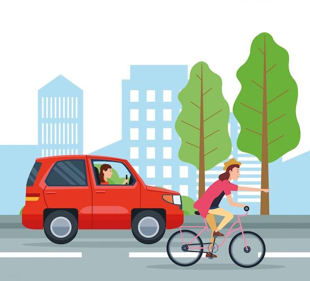 City transportation and mobility cartoons