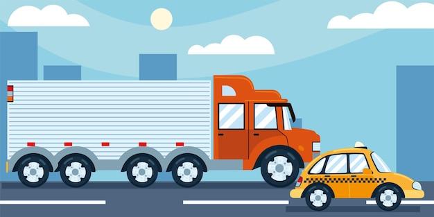 도시 트럭 택시 거리 교통