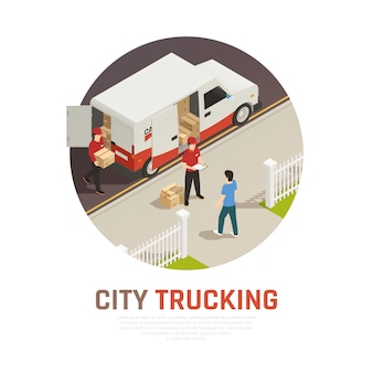 City trucking isometric round composition with cargo delivery by mini bus
