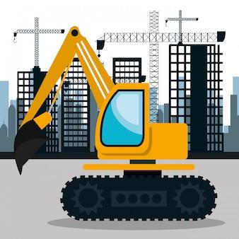 건설 도시 배경 아이콘 아래 도시