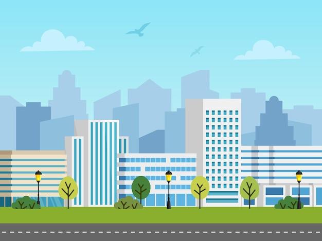 Городской городской пейзаж. панорама зданий перед небоскребами. птицы в небе, пустая дорога.
