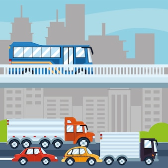 Городской городской дорожный уличный транспорт Premium векторы