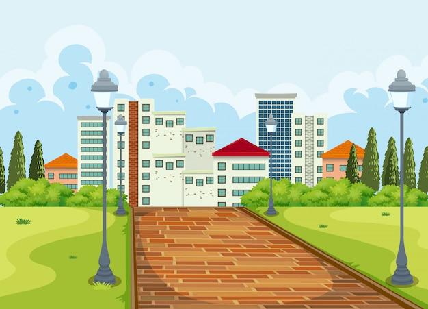 Вид на город из парка