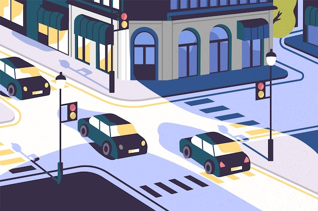 City view with cars driving along road, modern buildings, crossroad with traffic lights and zebra crossings