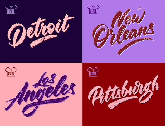 シティヴィンテージグランジ碑文。デトロイト、ニューオーリンズ、ロサンゼルス、ピッツバーグ