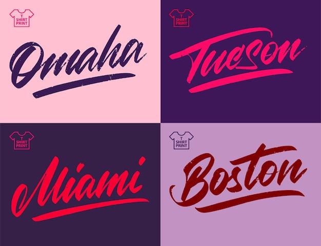 도시 빈티지 그레인 비문입니다. 오마하, 투손, 마이애미, 보스턴 벡터 일러스트 레이 션