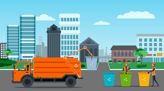 City waste recycling with garbage truck illustration