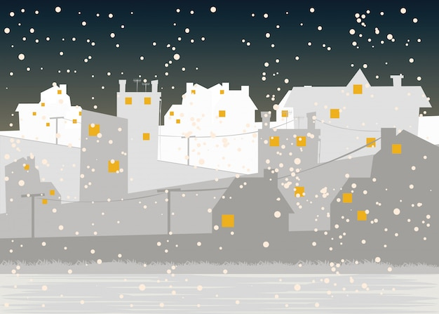 City in winter season vector illustration
