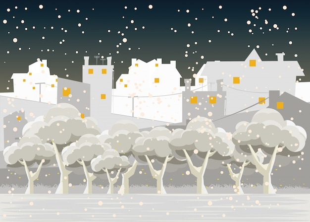 City in winters vector illustration