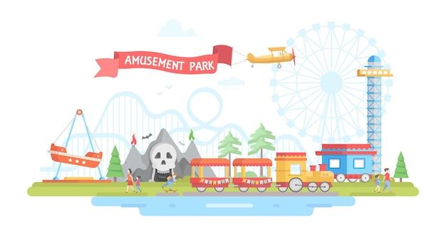 遊園地のある街-モダンなフラットデザインスタイルのベクトルイラスト。赤いリボンにサインオンします。メリーゴーランド、飛行機、ジェットコースター、ホラーアトラクション、電車で表示します。エンターテインメントの概念
