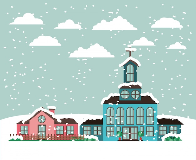 City with church in snowscape