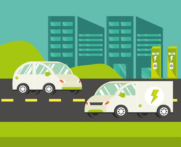 City with electric cars