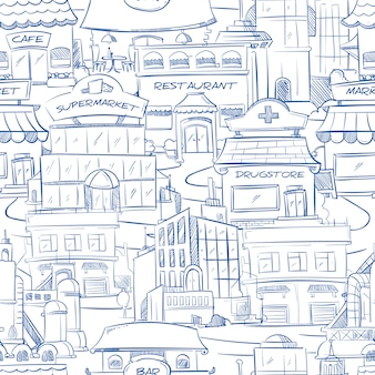 City with hand drawn buildings