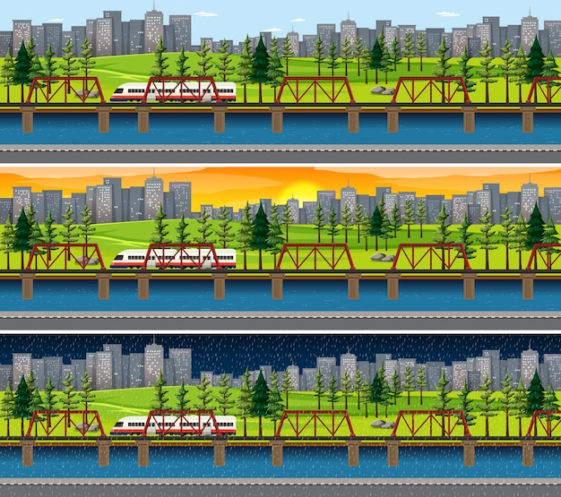 City with nature landscape at different times of day