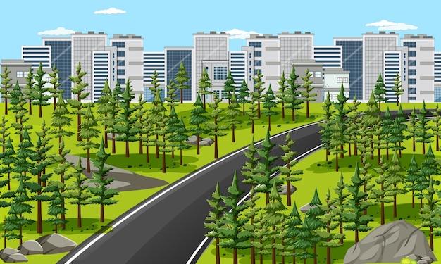 City with nature park landscape scene