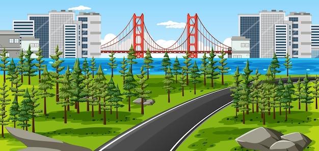 自然公園の景観シーンのある街