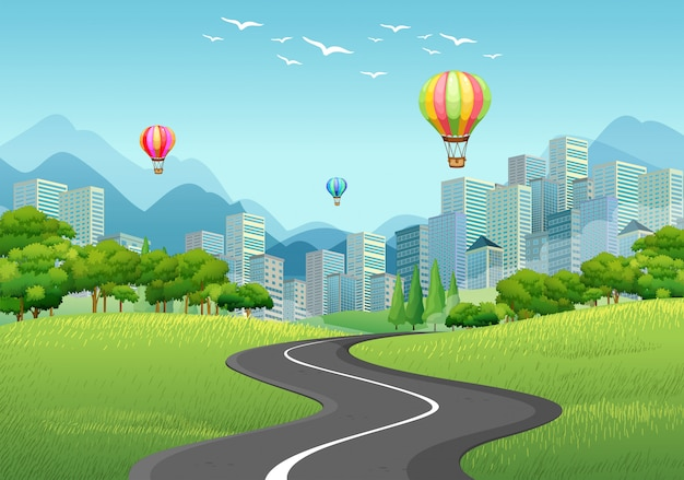 City with tall buildings and balloons