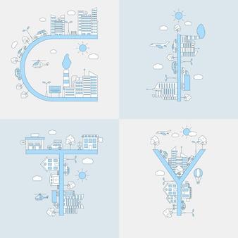 市の言葉。アウトラインの概念、建物、車、飛行機のある都市景観