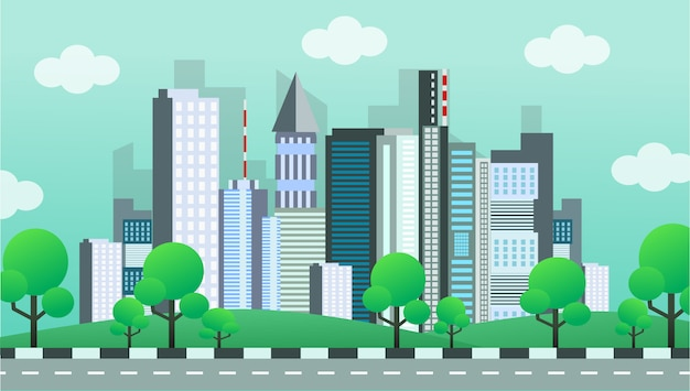 Cityscape area with park
